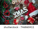 merry xmas   gifts  symbols of... | Shutterstock . vector #746860411