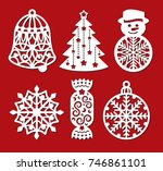 set of christmas decoration ... | Shutterstock .eps vector #746861101