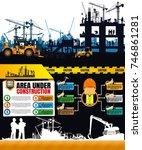 construction silhouettes vector ...   Shutterstock .eps vector #746861281