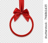 round banner with red ribbon... | Shutterstock .eps vector #746861635