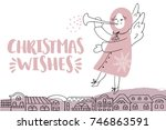 vector christmas card with... | Shutterstock .eps vector #746863591