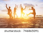 crowd of friends having fun in... | Shutterstock . vector #746865091