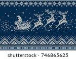 santa claus rides reindeer...   Shutterstock .eps vector #746865625
