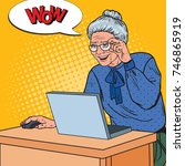 pop art happy senior woman... | Shutterstock .eps vector #746865919