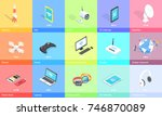 electronic gadgets collection... | Shutterstock .eps vector #746870089