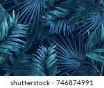 tropical palm leaves. seamless... | Shutterstock . vector #746874991