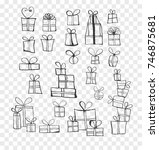 collection of doodle sketch... | Shutterstock .eps vector #746875681