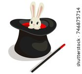 magic wand  hat and bunny for a ... | Shutterstock .eps vector #746875714