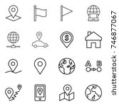 thin line icon set   pointer ... | Shutterstock .eps vector #746877067