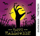 happy halloween background with ... | Shutterstock .eps vector #746878654