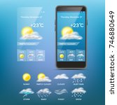 weather forecast app vector.... | Shutterstock .eps vector #746880649