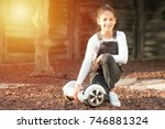 beautiful kid smile with braces.... | Shutterstock . vector #746881324