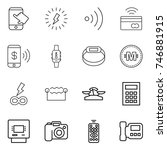 thin line icon set   touch ... | Shutterstock .eps vector #746881915