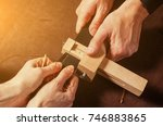 a close up of a skinner and his ...   Shutterstock . vector #746883865