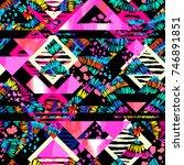 boho textile seamless pattern.... | Shutterstock .eps vector #746891851