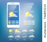 weather forecast app. realistic ... | Shutterstock . vector #746892214