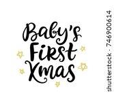 christmas ink hand lettering.... | Shutterstock .eps vector #746900614