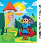 prince near tower with princess ... | Shutterstock .eps vector #746902735