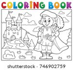 coloring book prince and castle ... | Shutterstock .eps vector #746902759
