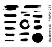 vector black ink paint brush... | Shutterstock .eps vector #746904295