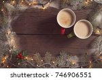 table top shot of two coffee...   Shutterstock . vector #746906551