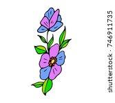 flower illustration. doodle... | Shutterstock . vector #746911735