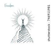 freedom. vector hand drawn... | Shutterstock .eps vector #746911981