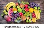 fresh organic fruits background.... | Shutterstock . vector #746913427