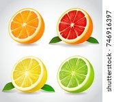 fresh citrus fruit halves.... | Shutterstock .eps vector #746916397