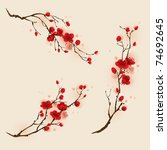 oriental style painting  plum... | Shutterstock .eps vector #74692645