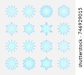 separate snowflakes doodles... | Shutterstock .eps vector #746929015