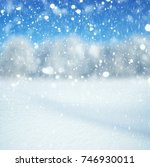 winter background  falling snow ... | Shutterstock . vector #746930011