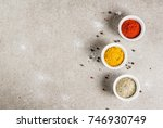 various spices and seasonings.... | Shutterstock . vector #746930749