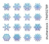 separate snowflakes doodles... | Shutterstock .eps vector #746932789