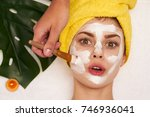 cosmetic mask apply beautician... | Shutterstock . vector #746936041