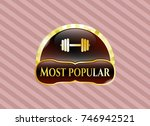 gold emblem or badge with... | Shutterstock .eps vector #746942521