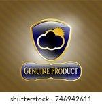 gold emblem with sun behind... | Shutterstock .eps vector #746942611