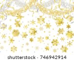 snow crystal and gold and... | Shutterstock .eps vector #746942914