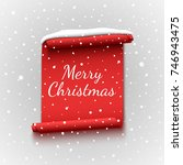 christmas banner with snow cap. ... | Shutterstock .eps vector #746943475
