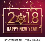 happy new year 2018 vector... | Shutterstock .eps vector #746948161
