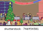 vector pixel art christmas... | Shutterstock .eps vector #746954581