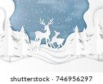 deers family joyful on snow and ... | Shutterstock .eps vector #746956297