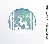 deers family joyful on snow and ... | Shutterstock .eps vector #746956309