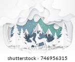 deers family joyful on snow and ... | Shutterstock .eps vector #746956315