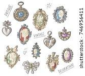 set illustration with antique... | Shutterstock .eps vector #746956411