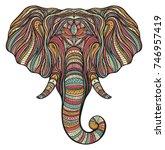 stylized ethnic boho elephant... | Shutterstock .eps vector #746957419