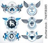 vector classy heraldic coat of... | Shutterstock .eps vector #746958385