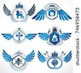 collection of vector heraldic... | Shutterstock .eps vector #746958475