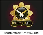 gold emblem with crossed... | Shutterstock .eps vector #746963185