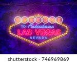 Stock vector neon las vegas sign on urban street grunge wall 746969869